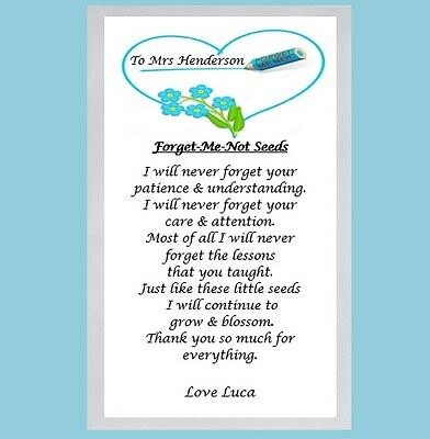 End of Term Gift Teacher Thank You Gift Personalised Forget Me Not Seeds & Poem
