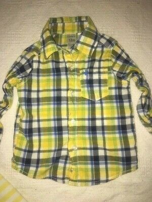 Carter's 12 Month Yellow Blue Plaid Spring Dress Button Front Shirt GUC