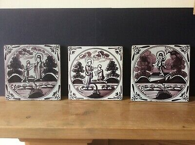 THREE ANTIQUE 18th CENTURY MANGANESE DELFT TILES. LIVERPOOL/BRISTOL.