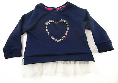 Nautica Girl's Shirt Size 6/9 Months Hearts Navy Lacey    L
