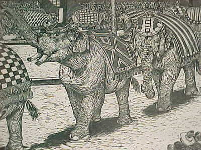 Amazing Vintage Signed Susan Sona Modern Art Etching Big-Top Circus Elephants Nr
