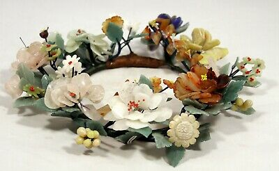 """Elegant! """"Rare Grand Carved Chinese Jade Floral Centerpiece / Wreath"""" (13"""" Wide)"""