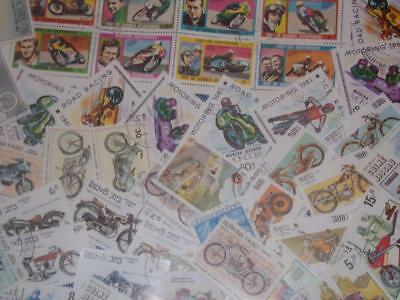 Collection  Ofall Different Motorcycle Stamps Worldwide!