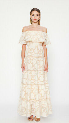 62e63888f5cab Anthropologie Off-The-Shoulder Floral Lace Flowy Dress Champagne &  Strawberry
