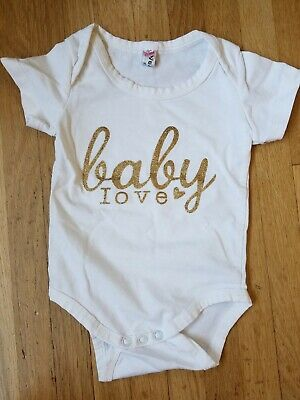 """""""Baby Love"""" Gold Sparkly White Baby Tee/bodysuit - 0-3 Mo."""