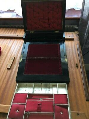 ANTIQUE Hinged Slant Top Portable Wooden Writing Lap Desk Slope Box