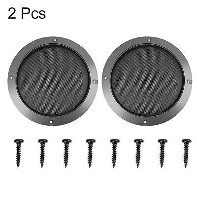 """2pcs 6.5"""" Gray Car Speaker Cover Steel Mesh Sub Woofer Subwoofer Grill Protector"""
