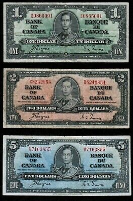 1937 Bank Of Canada Set Of $1-$100 Banknotes Coyne/Towers Signatures Mixed Grade