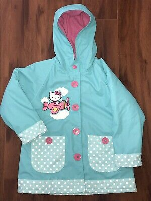5eabc98a3 NWOT Toddler Girl Teal Western Chief Hello Kitty Raincoat Size 4T Free  Shipping