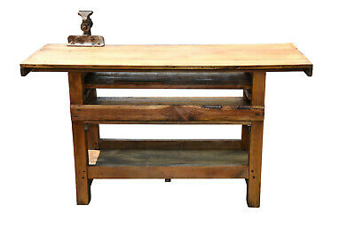 European Antique Work Bench, Turn of Century, Mixed Woods