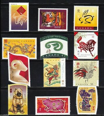 Nice Canada 1997 - 2008 Lunar Chinese New Year stamps Full Set. MNH