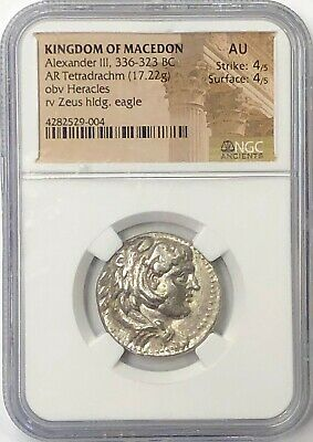 "Alexander the Great 336-323BC Silver Tetradrachm ""Lifetime issue"" NGC AU"