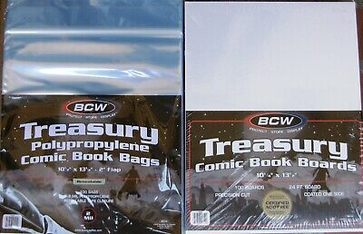 (100) Bcw Resealable Treasury Comic Book Size Bags / Covers & Backing Boards