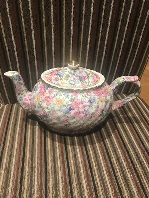 Arthur Wood & Sons Chintz Teapot, Floral Pink Roses And Gilt Top