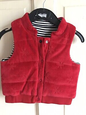 BNWOT Next Sample Gilet / Coat. Red. Unisex. Age 3 - 6 Months. Snowflake