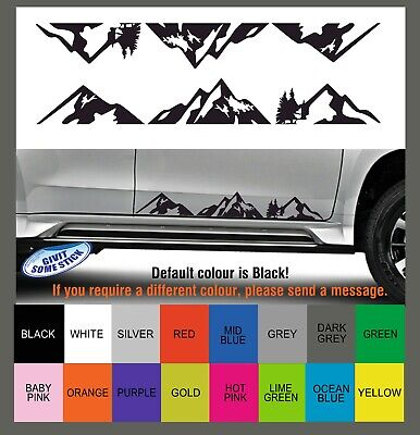 1 Pair Large Car SUV / 4x4 Body Door Black Mountain Range Sticker Decal Adhesive
