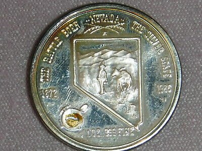 """Proof Pure Silver Coin with """"NEVADA"""" Gold Nugget & Edge Numbered_""""378"""" Edition"""