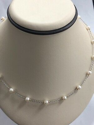 """Gorgeous 14KT White Gold Genuine Pearl Necklace Chain - 16"""" Long, 5 MM Wide"""
