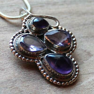 925 Solid Sterling Silver Semi-Precious Purple Amethyst Natural Stone Pendant