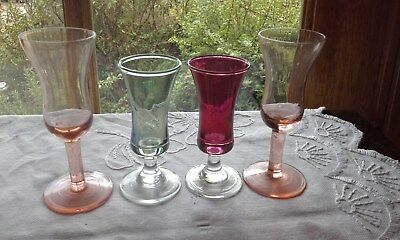 Drinks Bohemia Crystal Cut Glass Sherry Port Glasses Set Of 4 Retro Bar