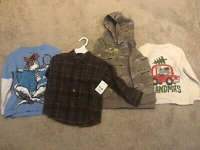 3T Boys Clothes Lot Of 4 Long Sleev 2 T Shirts, New Flannel W. Tags & Hoodie