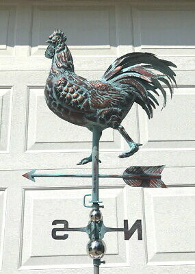 LARGE STRUTTING ROOSTER 3D Weather Vane AGED COPPER PATINA New Handcrafted