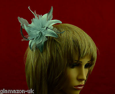 Fascinator Silver Flower and Feather on a Clear Comb New UK Free Post