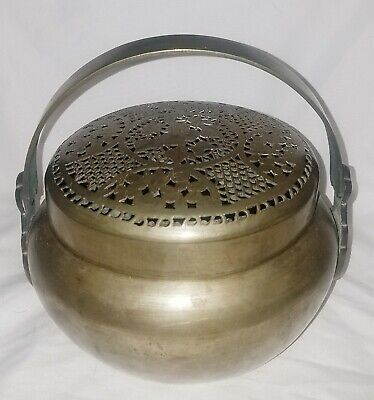 Antique Chinese Paktong Silver Hand Warmer With Reticulated Cover