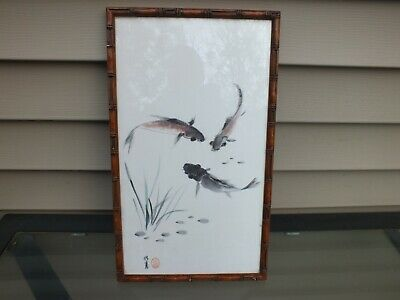 Antique Asian Japanese Chinese Painting on Silk Water Fish Artist Signed