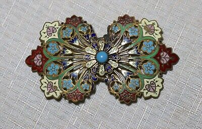 antique ornate Victorian 1800's handmade enameled gold gilt 2 piece belt buckle.