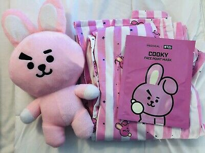BTS BT21 KPOP COOKY Nightgown+Pajama pants + Plush Cooky + 1 Facemask