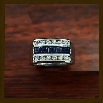10K Real White Gold Sapphire & Diamond Pinky Mens Engagement Wedding Band Ring