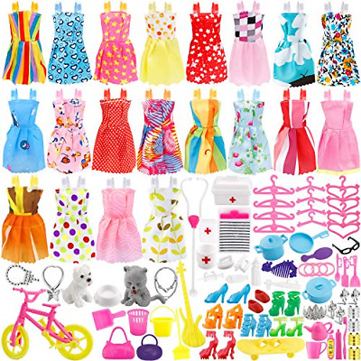 135 Pcs Doll Clothes Huge Lot Gown Outfits Party Accessories Barbie Girl New