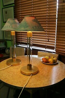 Matching Pair of Classic 1980s 90s Modernist Light Brass & Perspex Lamp