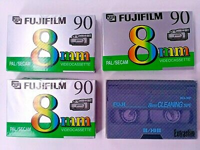 FUJIFILM 3 × P5-90 8mm videocassette tape Pal/SECAM plus cleaning tape