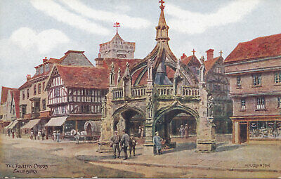 Uk Postcard ~The Poultry Cross Salisbury J Salmon No 1549 A.r Quinton