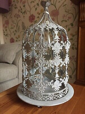 Vintage / Shabby Chic Antique Grey Finish Metal Bird Cage With Hanging Birds