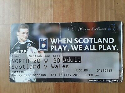 RUGBY UNION MATCH  TICKET -  SCOTLAND v WALES Six Nations 2011