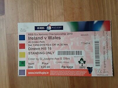 RUGBY UNION MATCH  TICKET -  IRELAND v WALES Six Nations 2010