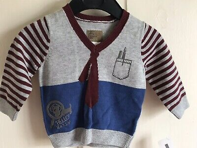 BNWT Mamas & Papas Polo Jumper. Boys. Age 0-3 Months. Grey. Funky/ Unusual - Tie