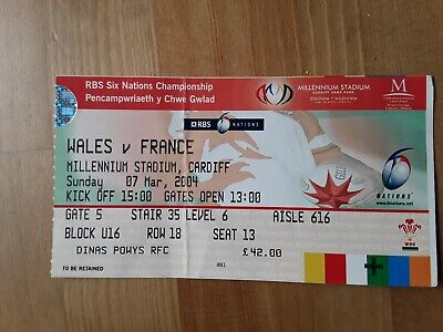 RUGBY UNION MATCH  TICKET -  WALES  v FRANCE Six Nations 2004