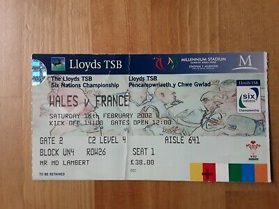 RUGBY UNION MATCH  TICKET -  WALES  v FRANCE Six Nations 2002