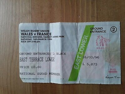 RUGBY UNION MATCH  TICKET -  WALES  v FRANCE Five Nations 1996