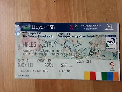 RUGBY UNION MATCH  TICKET -  WALES  v ITALY Six Nations 2002