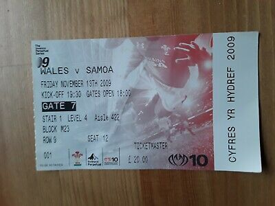 RUGBY UNION MATCH  TICKET -  WALES  v SAMOA AUTUMN INTERNATIONAL 2009