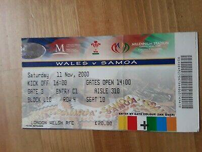 RUGBY UNION MATCH  TICKET -  WALES  v SAMOA AUTUMN INTERNATIONAL 2000