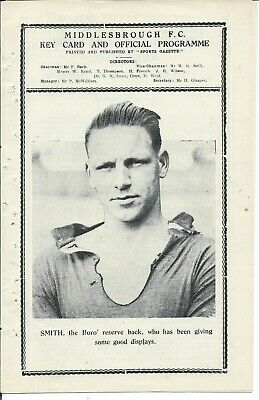 RARE pre-War ex-bound Middlesbrough Reserves v Spennymoor 31/3/34 NEL 1933/34
