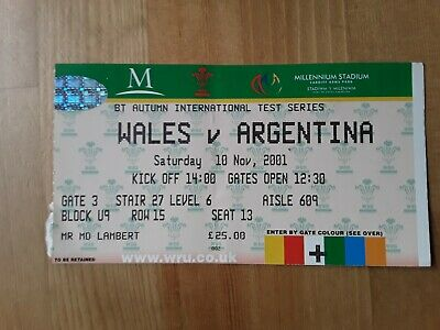 RUGBY UNION MATCH  TICKET -  WALES  v ARGENTINA AUTUMN INTERNATIONAL 2001