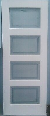 "JELD-WEN Four Glass Panel White Painted Internal Door Part Frosted 78"" X 30"""