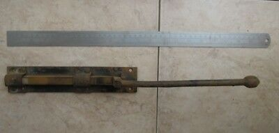 Antique door slide bolt / lock - Blaksmith made - forged - house barn